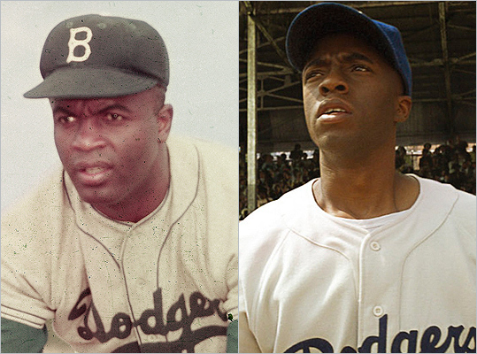 Subject : Jackie Robinson (left) Actor and film : Chadwick Boseman in '42' (2013) Does Boseman look like Robinson?
