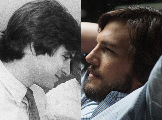 Subject : Steve Jobs (left) Actor and film : Ashton Kutcher in 'Jobs' (2013) Does Kutcher look like Jobs?