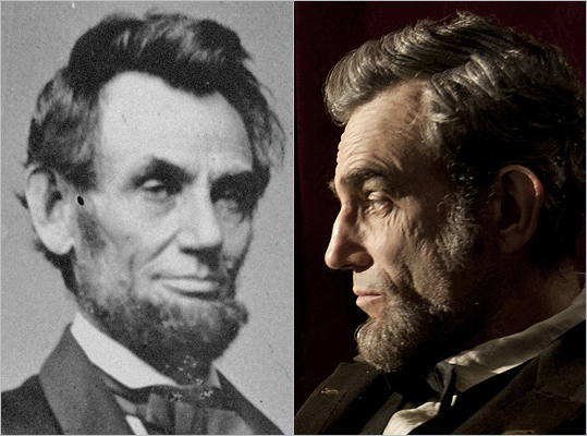 Subject : Abraham Lincoln (left) Actor and film : Daniel Day-Lewis in 'Lincoln' (2012) Does Day-Lewis look like Lincoln?
