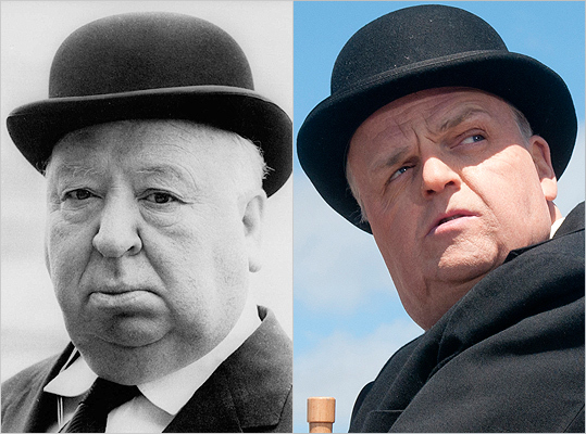 Subject : Alfred Hitchcock (left) Actor and film : Toby Jones in 'The Girl' (2012) Does Jones look like Hitchcock?