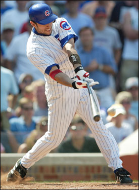 Garciaparra singles home Jose Macias with two outs in the bottom of the seventh inning. The RBI rounded out a four-run inning that pushed the Cubs ahead 6-3.