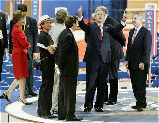 President George W. Bush gives a thumbs-up as he performs his walk-through today prior to his speech on the final night of the Republican National Convention at Madison Square Garden.