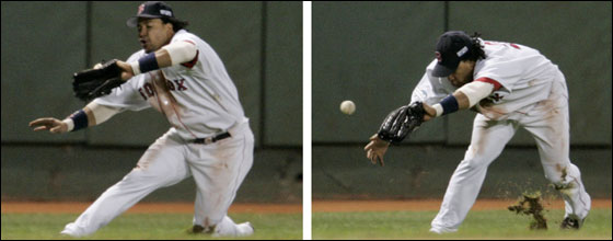Manny Ramirez made his second of two errors in the eighth inning, when he tripped when trying to dive for a ball of the bat of Larry Walker.