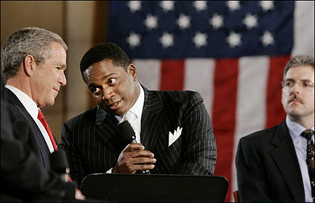 President Bush with Robert McFadden, who spoke about Social Security and his father, earlier this month in Washington.