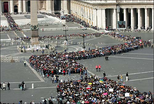 Lines outside St. Peter's