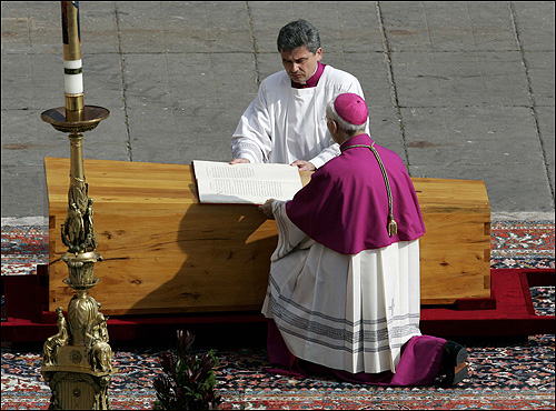 The funeral began with an intimate ceremony attended only by high-ranking prelates, who placed a pouch of silver and bronze medals and a scrolled account of the pope's life in his cypress coffin.