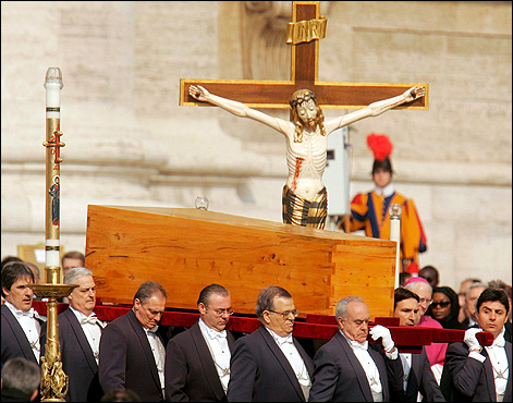 Pallbearers carried the pope's coffin at his funeral.