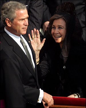 Queen Sofia of Spain waved as President Bush passed by at the start of the funeral Mass.