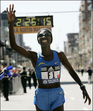 Catherine Ndereba of Kenya celebrated after winning the 109th Boston Marathon with a time of 2:25:13. It was Ndereba's fourth victory in the Boston Marathon.