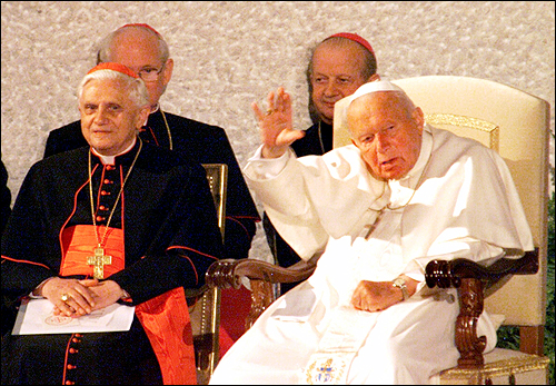 2003 Ratzinger is pictured with the late Pope John Paul II in Rome.