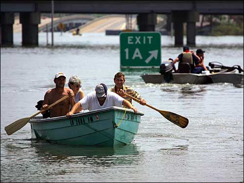 rescuers in boats