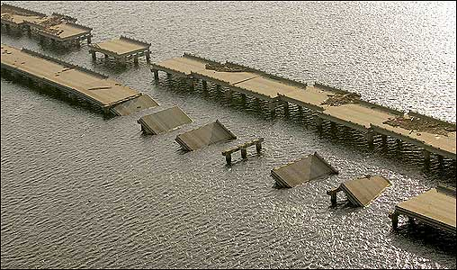 Sections of Interstate 10 outside New Orleans remained under water.