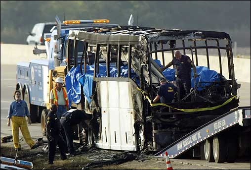 Authorities looked for evidence Friday inside the burnt remains of a charter bus. The bus, carrying elderly Hurricane Rita evacuees from the Houston area, burst into flames outside Dallas before dawn on Friday, killing at least 24 people trapped inside, officials said.