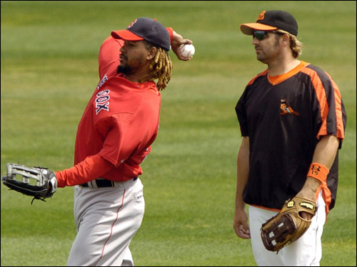 Orioles' Kevin Millar (right) chats with Manny Ramirez of the Red Sox before the start of Wednesday's game.