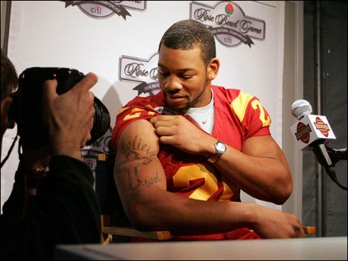 University of Southern California safety Darnell Bing started 11 games during his junior season in 2005. He finished with 50 tackles and four interceptions.
