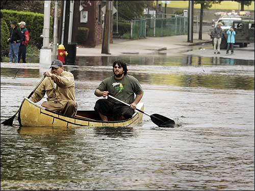 men canoeing