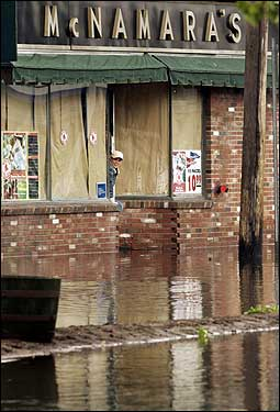 closed shop and flooded street