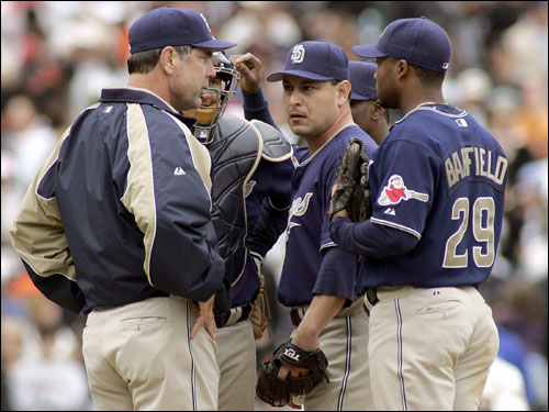 Seanez pitched 1 2/3 shutout innings with two strikeouts in the NLDS for the Padres.