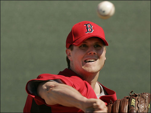Red Sox pitcher Jonathan Papelbon threw during practice.