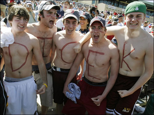 Shirtless Red Sox fans with Daisuke Matsuzaka's nickname written on their chests cheered from the stands prior to Tuesday's game.