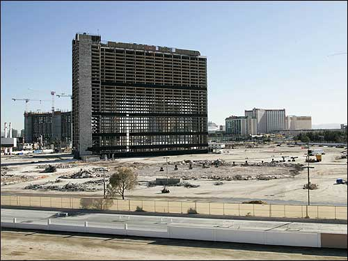 The once-famed Stardust Resort & Casino in Las Vegas is seen here yesterday, awaiting implosion.