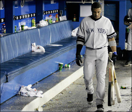 Meanwhile, the Yankees have dropped five of their last six games (falling from 9½ games back to 13½ back) after briefly showing a glimmer of hope against the Red Sox last week. The Bombers had a team meeting before their series against the Blue Jays, but have dropped two of three games since.