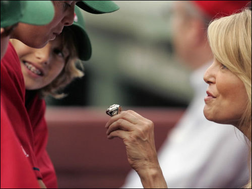 Brinkley, who sat with Red Sox owner Tom Werner for Friday's game, showed off a Red Sox 2004 World Series ring.