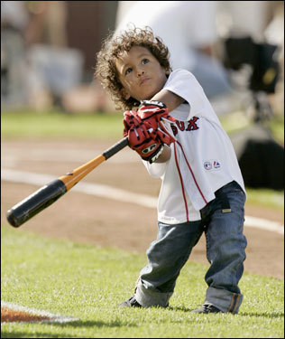 D'Angelo Ortiz, son of the Red Sox slugger David Ortiz, displays his father's big swing...