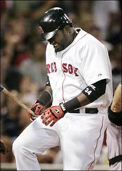 Ortiz reacts after fouling the ball off his leg in the eighth inning. Early on, the Sox's slugger appeared to be at full strength with three hits and two RBIs by the sixth inning. However, after hitting a club-record 54 home runs last season, Ortiz has just 14 so far this season, a statistic that already had fans worried about his knee.