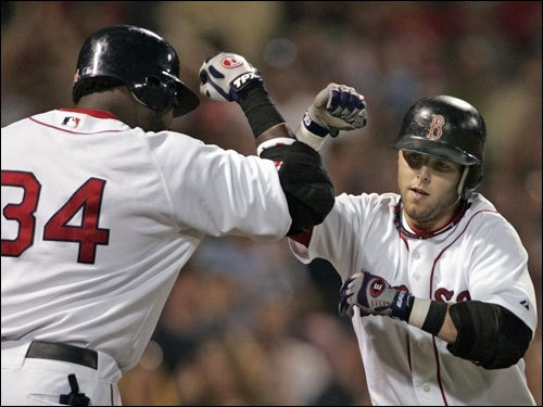 Dustin Pedroia (right) is congratulated by Sox teammate David Ortiz after hitting a solo home run in the sixth inning.