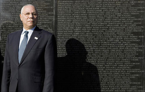 Former US secretary of state and Vietnam veteran Colin Powell stood at the Vietnam Veterans Memorial in Washington, D.C., on Sunday. The memorial will celebrate its 25th anniversary this week.