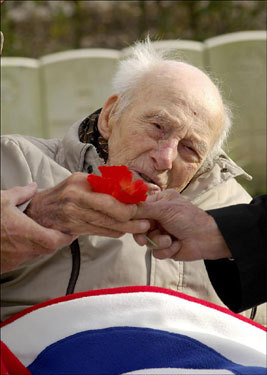 Britain's oldest war veteran, 111-year-old Henry Allingham, attended services on Remembrance Sunday at the Longunesse Souvenir Cemetery in St. Omer, France. Allingham was stationed in France during World War I.