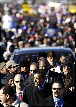 Senator Barack Obama walked in a Martin Luther King Day rally in Columbia, S.C.