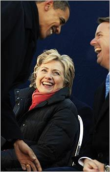 Obama, Senator Hillary Clinton, and former Senator John Edwards attended a Martin Luther King Day rally in Columbia, S.C.