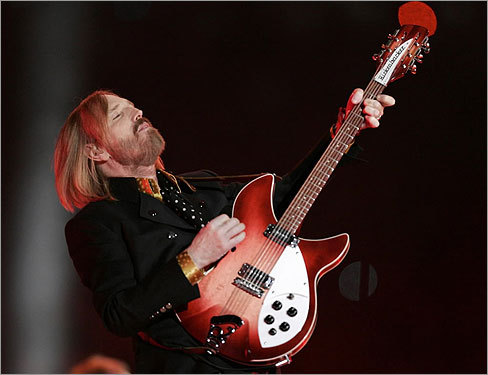 Tom Petty played with his band during halftime.