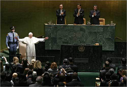 The General Assembly applauded after the pope's speech.