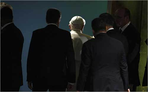 The pope was escorted from the General Assembly after his address. Later today, he was to visit a synagogue and meet with leaders of other Christian denominations.