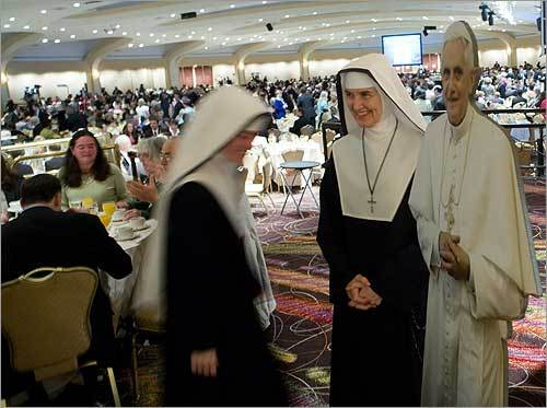 A life-size cutout of the pope was also in attendance at the breakfast.
