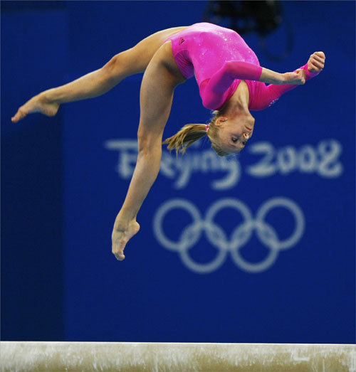 Nastia Liukin of the United States competed on the beam.