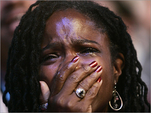 Democratic delegate Sondra Hollinger Samuels cried after Senator Barack Obama officially won the party's nomination.