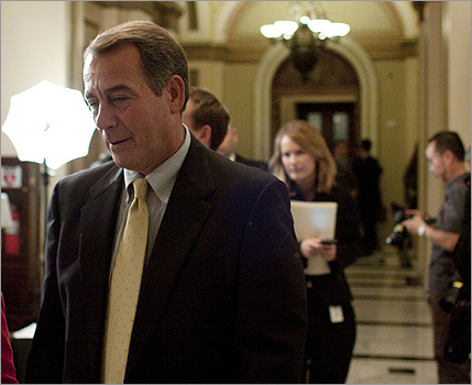 House minority leader John Boehner of Ohio walked to his office after the House passed the health care bill. Boehner criticized the bill in a fiery speech on the House floor. 'We have failed to listen to America and we have failed to reflect the will of our constituents,' he said.