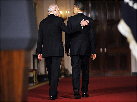 President Obama walked from the East Room to the Blue Room of the White House with Vice President Biden after addressing the nation about the passage of the health care bill.