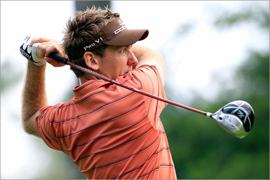 Ian Poulter of England watched his tee shot on his 16th hole. He went on to shoot 4-under 67 in the first round.