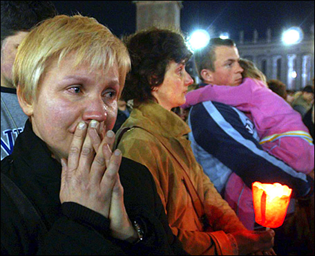 A woman reacted in St. Peter's Square at the Vatican after hearing the news of the pope's death. The pope became the first non-Italian pope in 455 years when he was elected to the papacy in October 1978 at the age of 58.