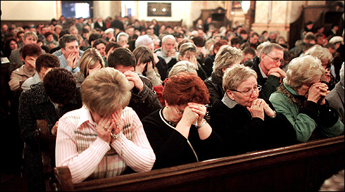 People cried at a Basilica in his native town of Wadowice in Southern Poland after being told of Pope John Paul II's death. Pope John Paul II played a key role in the fall of communism in Europe.