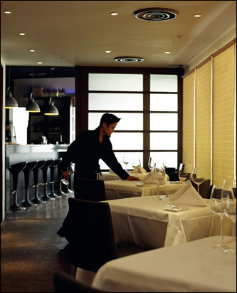 The dining room at Saint Pierre, Singapore.