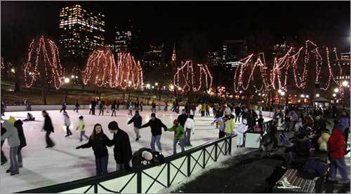Surrounded by a cavern of skyscrapers dotting the sky and holiday lights adorning leafless trees, skating at night in the Boston Common's Frog Pond is one of those unique experiences, found only in winter time.