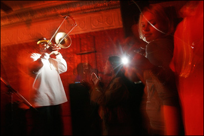 The Rebirth Brass Band played to a packed house at the Maple Leaf Bar in New Orleans in January, just months after Hurrican Katrina shattered the lives and homes of thousands of Louisianans