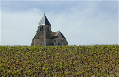 The church of Sainte-Claire on the Jean-Marc Brocard estate in Prehy.