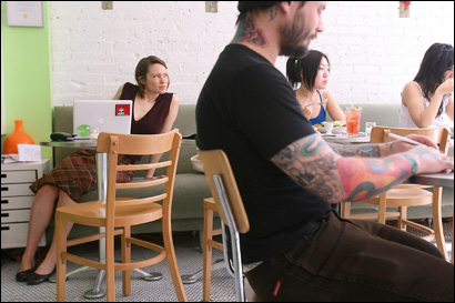 Kelly Tisdale, far left, opened teany with Moby, the musician, but the shop is all hers now. It has 98 blends of tea and its own bottled brand, now for sale nationwide and overseas.